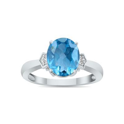Blue Topaz & Diamond Ring in 10k White Gold