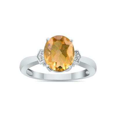 Citrine  & Diamond Ring in 10k White Gold