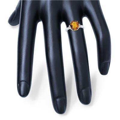 Citrine and Diamond Ring in 10k White Gold
