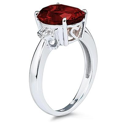 Garnet & Diamond Ring in 10k White Gold