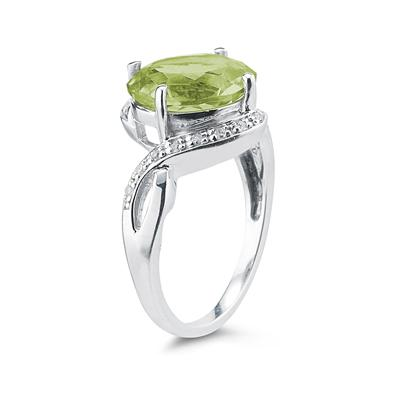 Oval Shaped Peridot  and Diamond Curve Ring in 10K White Gold