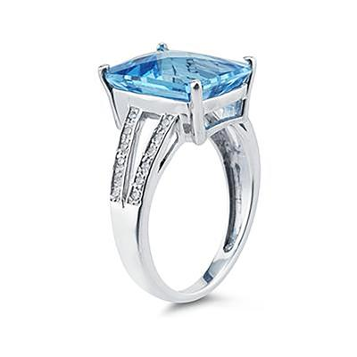 7 Carat Emerald  Cut Blue Topaz and Diamond Ring 10k White Gold