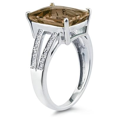 7 Carat Emerald  Cut Smokey Quartz and Diamond Ring 10k White Gold