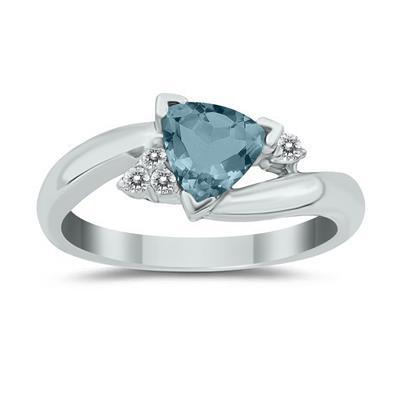 3/4 Carat Trillion Cut Aquamarine and Diamond Ring in 14K White Gold