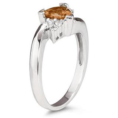 Trillion Cut Citrine and Diamond Ring in 14K White Gold