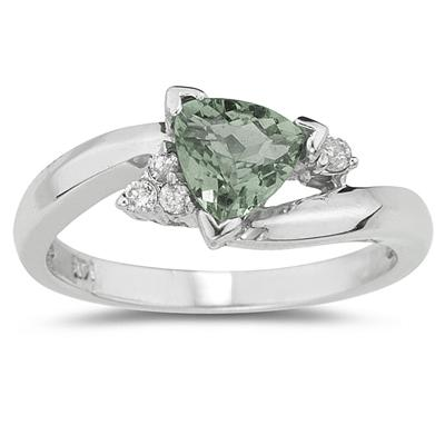 3/4 Carat Trillion Cut Green Amethyst  and Diamond Ring in 14K White Gold