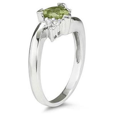 Trillion Cut Peridot and Diamond Ring in 14K White Gold
