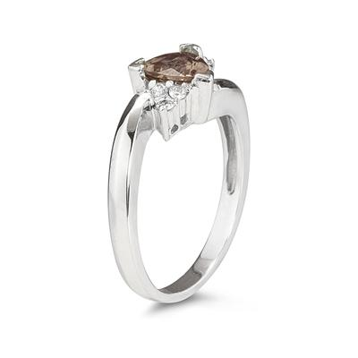 3/4 Carat Trillion Cut Smokey Quartz  and Diamond Ring in 14K White Gold