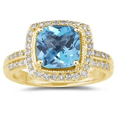 2 1/2 Carat Cushion Cut Blue Topaz & Diamond Ring in 14K Yellow Gold