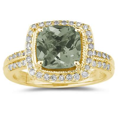 2 1/2 Carat Cushion Cut Green Amethyst & Diamond Ring in 14K Yellow Gold