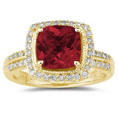 2 1/2 Carat Cushion Cut Garnet & Diamond Ring in 14K Yellow Gold