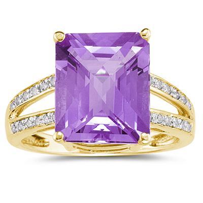 Emerald  Cut Amethyst and Diamond Ring 10k Yellow  Gold