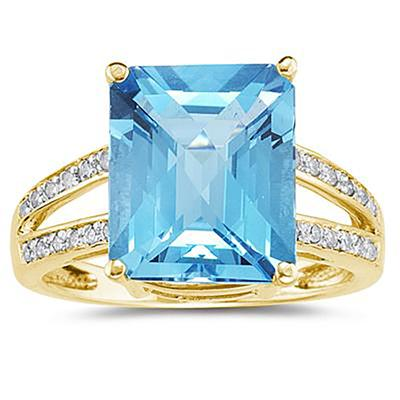 Emerald  Cut Blue Topaz and Diamond Ring 10k Yellow  Gold