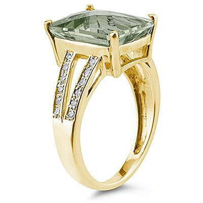 Emerald  Cut  Green Amethyst   and Diamond Ring 10k Yellow  Gold