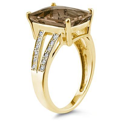 Emerald  Cut   Smokey Quartz  and Diamond Ring 10k Yellow  Gold