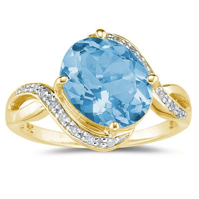 Oval Shaped  Blue  Topaz  and Diamond Curve Ring in 10K Yellow  Gold