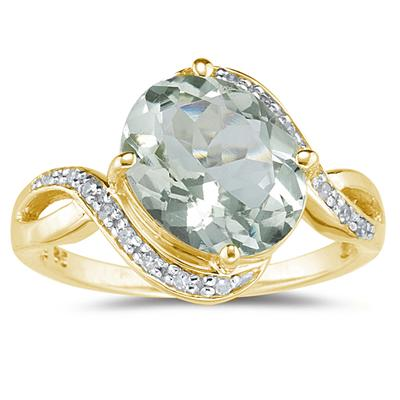Oval Shaped Green Amethyst and Diamond Curve Ring in 10K Yellow Gold