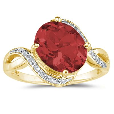 Oval Shaped Garnet  and Diamond Curve Ring in 10K Yellow  Gold