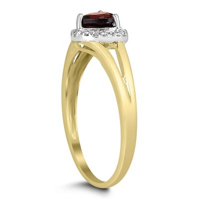 Heart Shaped Garnet and Diamond Ring