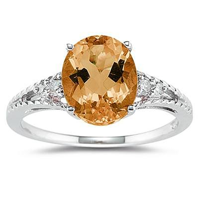 Oval Cut Citrine & Diamond Ring in 14k White Gold