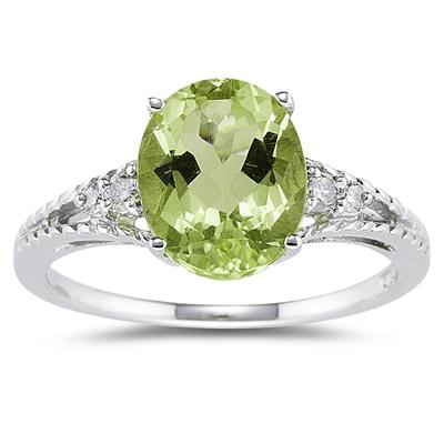 Oval Cut Peridot & Diamond Ring in 14k White Gold