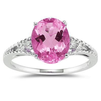Oval Cut Pink Topaz & Diamond Ring in 14k White Gold