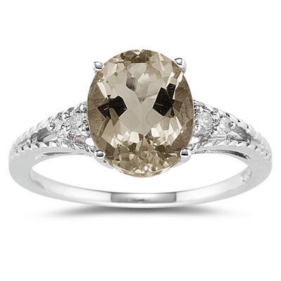 Oval Cut Smokey Quartz & Diamond Ring in 14k White Gold