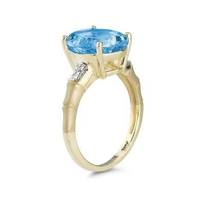 3.97 Carat Blue Topaz and Diamond Ring in 14K Yellow Gold