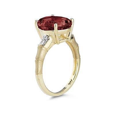 3.97 Carat  Garnet and Diamond Ring in 14K Yellow Gold
