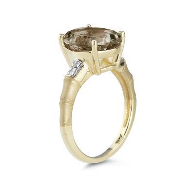 3.97 Carat  Smokey Quartz  and Diamond Ring in 14K Yellow Gold