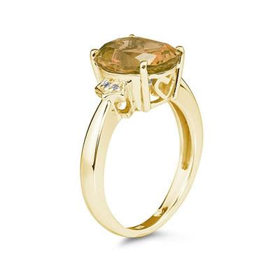 Citrine & Diamond Ring in 10k Yellow Gold