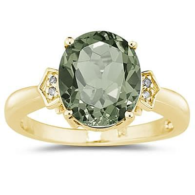 Green Amethyst  & Diamond Ring in 10k Yellow Gold