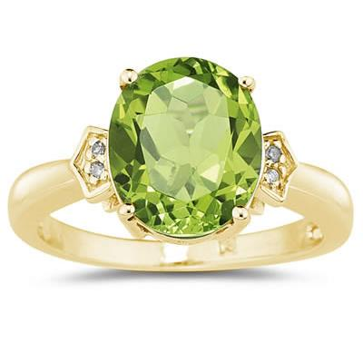 Peridot  & Diamond Ring in 10k Yellow Gold