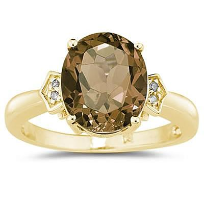 Smokey Quartz  & Diamond Ring in 10k Yellow Gold