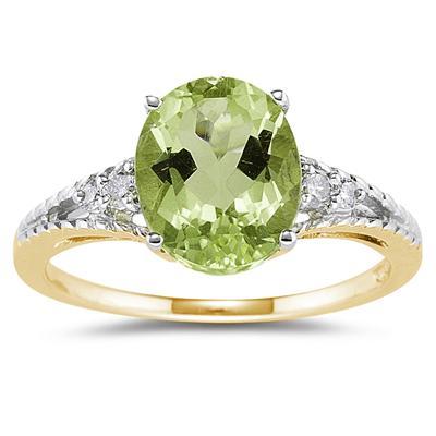 Oval Cut Peridot & Diamond Ring in 14k Yellow Gold