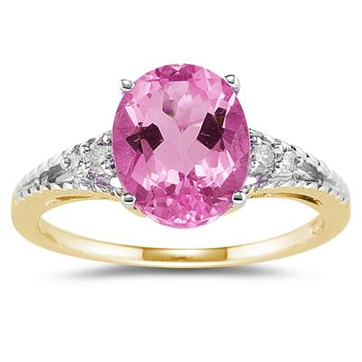 Oval Cut Pink Toapz & Diamond Ring in 14k Yellow Gold