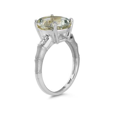3.97 Carat Green Amethyst and Diamond Ring in 14K White Gold