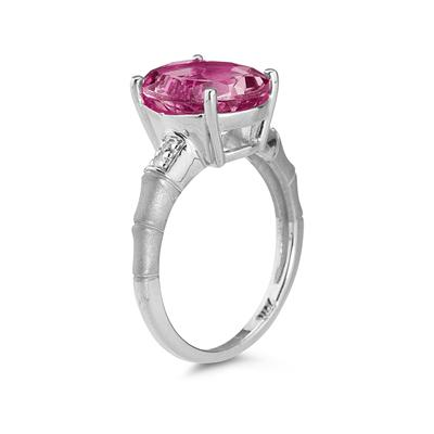 3 1/2 Carat Pink Topaz and Diamond Ring in 14K White Gold