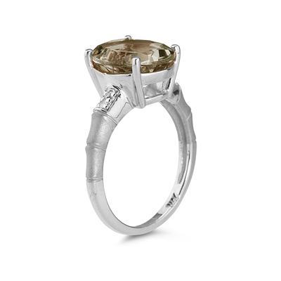 3.97 Carat  Smokey Quartz and Diamond Ring in 14K White Gold