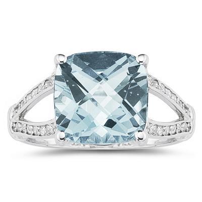Cushion Cut  Aquamarine and Diamond Ring 10k White Gold