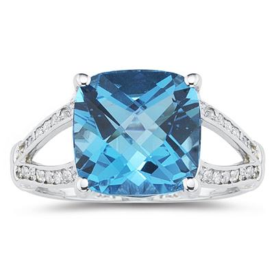Cushion Cut Blue Topaz and Diamond Ring 10k White Gold