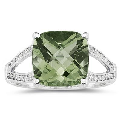 Cushion Cut Green Amethyst and Diamond Ring 10k White Gold