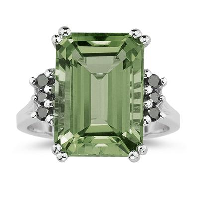 Emerald  Cut Green Amethyst and Black Diamond Ring 10k White Gold.