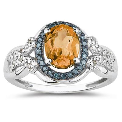 Citrine and Blue and White Diamond Ring in 10K White Gold