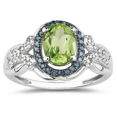 Peridot and Blue and White Diamond Ring in 10K White Gold