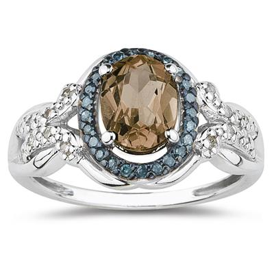 Smokey Quartz and Blue and White Diamond Ring in 10K White Gold