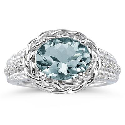 2.33 Carat Oval Shape Aquamarine and Diamond Ring in 10kt White Gold