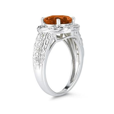 2.33 Carat Oval Shape Citrine and Diamond Ring in 10kt White Gold