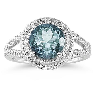 Aquamarine and Diamond Ring in 10K White Gold