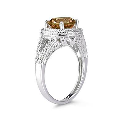 Citrine and Diamond Ring in 10K White Gold